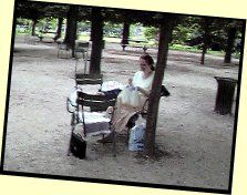 Picture of Mummy embroidering in the Luxembourg Gardens